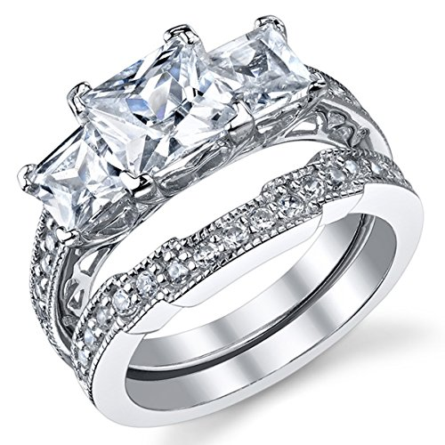 1.25 Ct Past Present - 1.25 Carat Radiant Cubic Zirconia Past, Present, Future Sterling Silver 925 Wedding Engagement Ring Band Set