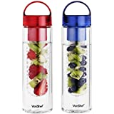 VonShef 2 Pack 700ml Fruit Infuser Water Infusing Bottle - BPA Free
