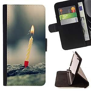 BullDog Case - FOR/Sony Xperia m55w Z3 Compact Mini / - / candle one birthday first nature love /- Monedero de cuero de la PU Llevar cubierta de la caja con el ID Credit Card Slots Flip funda de cuer