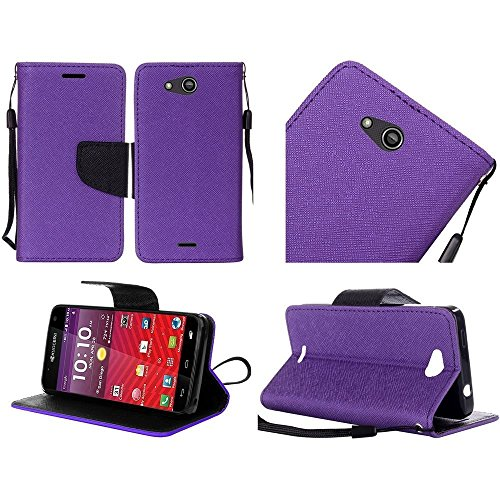 Kyocera Hydro Air C6745 Case, Luckiefind PU Leather Flip Wallet Credit Card Cover Case, Stylus Pen, Screen Protector Accessory (Wallet Purple)