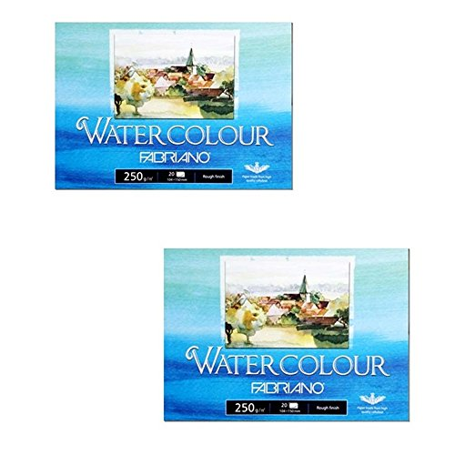 Fabriano Watercolor Paper Pads, Postcards Pad Rough Finish, 250gsm 20 SheetsX2 Pack