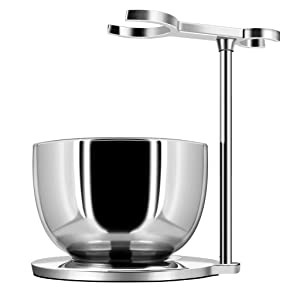 GRUTTI Shaving Stand with Soap Bowl Set, Deluxe Chrome Razor and Brush Stand with Bowl Compatible with Manual Razor, Safety Razor, Gillette Fusion Razor