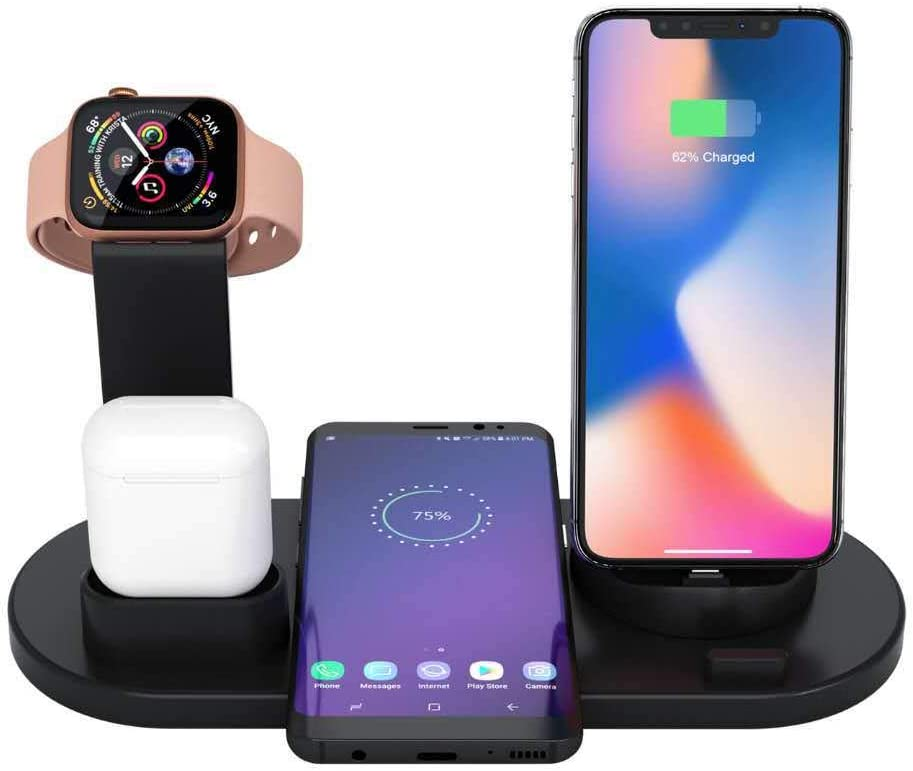 QCHENG Wireless Charger 4 in 1 Wireless Charging Dock Compatible with Apple Watch and Airpods Charging Station Qi Fast Wireless Charging Stand Compatible iPhone X XS XR Xs Max 8 8 Plus Deep Black