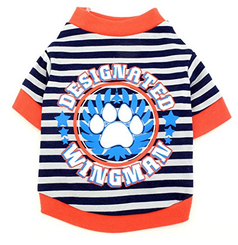 SMALLLEE_Lucky_Store Pet Clothes for Small Dog Cat 100% Cotton Striped PAW Print Shirt T-Shirt Blue S