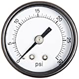 "PIC Gauge S102D-158C Dry Filled Utility Center Back Mount Pressure Gauge with Black Steel Case, Chrome Bezel, Plastic Lens, Single Scale, 1-1/2"" Dial Size, 1/8"" Male NPT Connection Size, 0/30 psi Range"