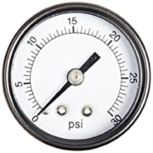 "PIC Gauge S102D-158C Dry Filled Utility Center Back Mount Pressure Gauge with Black Steel Case, Chrome Bezel, Plastic Lens, Single Scale, 1-1/2"" Dial Size, 1/8"" Male NPT Connection Size, 0/30 psi Range"