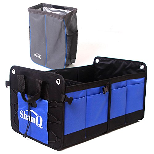 Auto Clutter Trunk Organizer from ShamQ - Come with Quality Trash Bag - Car Van SUV Truck Accessories Extra Large Portable Collapsible Multi Pockets | 1-Pack Each Containment Accessories