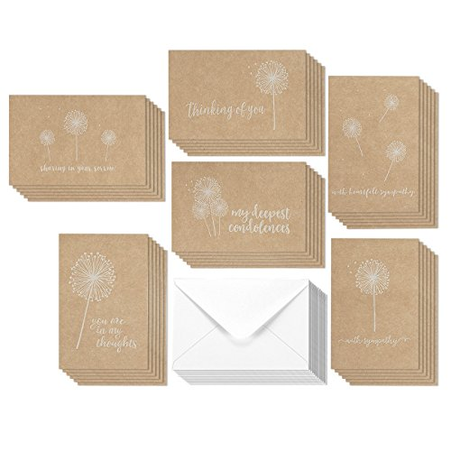 36 Pack Brown Kraft Paper Sympathy Greeting Cards Assortment Condolence Note Cards - Tan & White Dandelion Floral Flower Designs - Bulk Box Set Envelopes Included 4 x 6 Inches