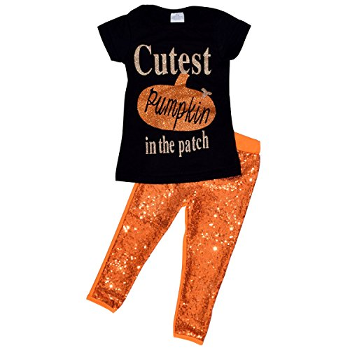 Unique Baby Girls 2 Piece Cutest Pumpkin in The Patch Halloween Outfit (2T, (October Pumpkin)
