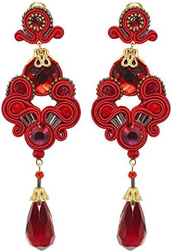 Candela de Reina - Pendientes de gota de coral para mujer, color rojo: Amazon.es: Ropa y accesorios