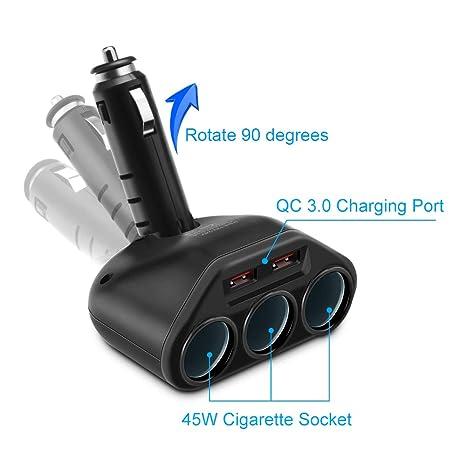 Amazon.com: Rocketek Adaptador divisor de cargador de coche ...