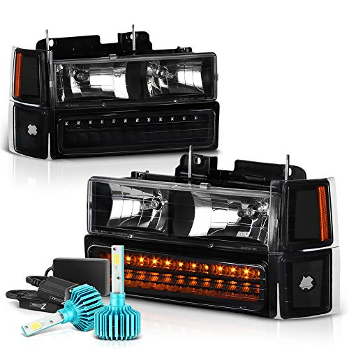 VIPMOTOZ For 1994-1998 Chevy C/K 1500 2500 3500 Pickup Suburban Tahoe Headlights - Built In Color Changing RGB LED Low Beam, Matte Black Housing, Driver and Passenger Side
