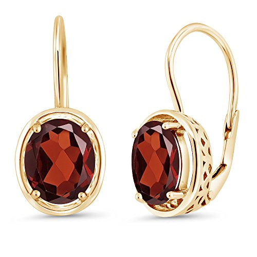 Gem Stone King Red Garnet 18K Yellow Gold Plated Silver Dangle Earrings, 3.60 Ctw Oval