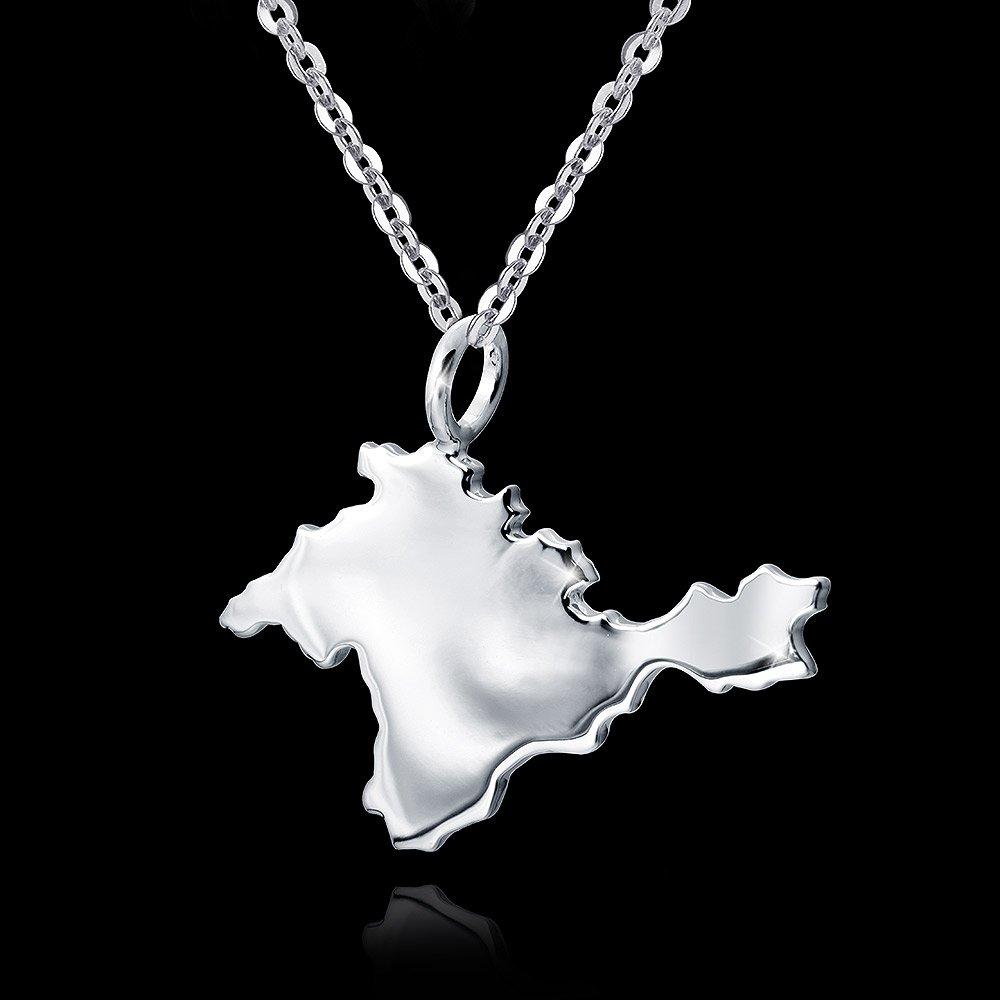 MATERIA Krim Anh/änger Silber 925 rhodiniert Landkarte Crimea f/ür Halskette #KA-357