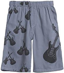 City Threads Big Boys' Cross Guitars Shorts (Toddler/Kid) - Concrete - 14