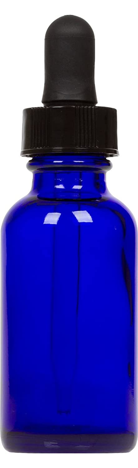 Cobalt Blue Glass Boston Round Bottle w/ Black Glass Dropper 1 oz 6 Pack CosChemSupply