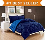 Elegant Comfort All Season Comforter and Year Round Medium Weight Super Soft Down Alternative Reversible 3-Piece Comforter Set, Full/Queen, Navy /Light Blue