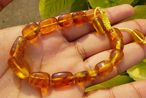 100% Natural Untreated Myanmar Amber Fossil Bracelet Burmite Neolithic Gems Natural Inclusion Bead Polished -