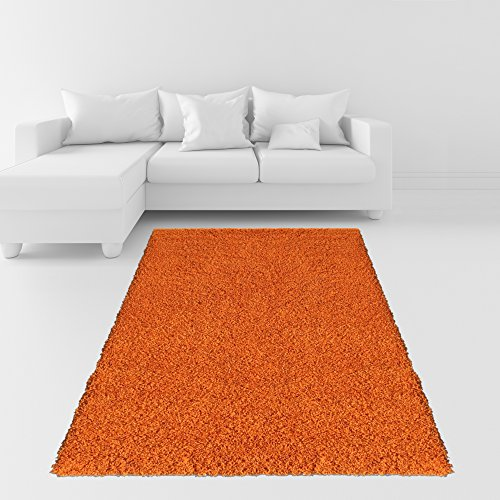 Soft Shag Area Rug 5x7 Plain Solid Color ORANGE - Contemporary Area Rugs for Living Room Bedroom Kitchen Decorative Modern Shaggy Rugs