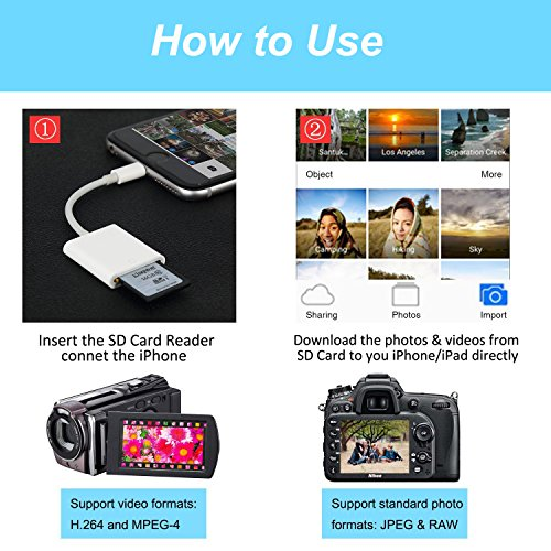 SD Card Reader, Lightning Adapter for iPhone (Support iOS 11.4 and Before), Trail Game Camera Viewer for iPhone X/8 Plus/8/7 Plus/7/6s Plus/6s/6 Plus/6/5 iPad Mini/Air, No App Required, [Upgraded] by FA-STAR (Image #3)