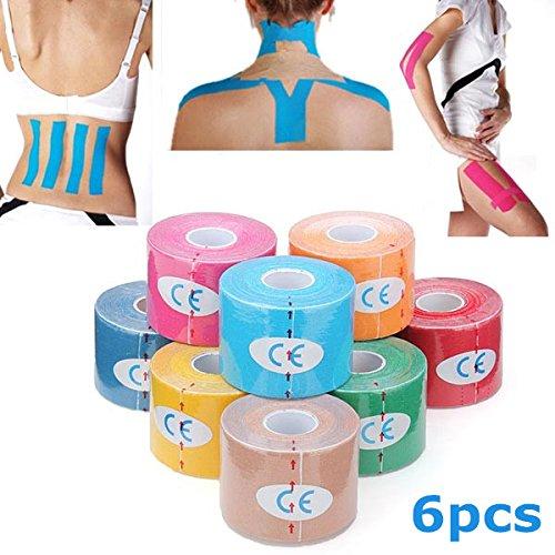 6pcs Yellow Kinesiology Tape Sports Muscles Care Therapeutic Bandage IRISMARU
