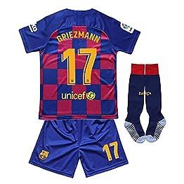 Brosin Maillot de Football, Barcelona #17 Griezmann Combinaison De Sport Maillot et Short de Football Vêtement De Sport De Football pour Garçon, Convient Et Aux Enfants T-Shirt+Short + Chaussette