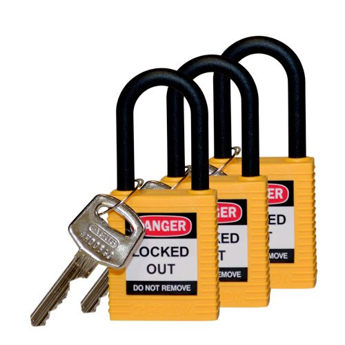 Brady 123336 Nylon Plastic Shackle Safety Padlock, 1.5'', Yellow (Pack of 3)