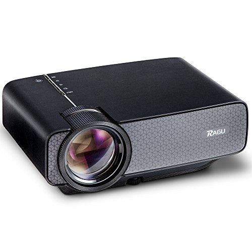 RAGU Z400 1600 Lumens Mini Portable Projector, Home Entertainment Video Projector Movie Theater LED Multimedia Projector Support HD 1080P for PC Laptop PS4 XBOX Smartphone Android iPhone TV Box, Black