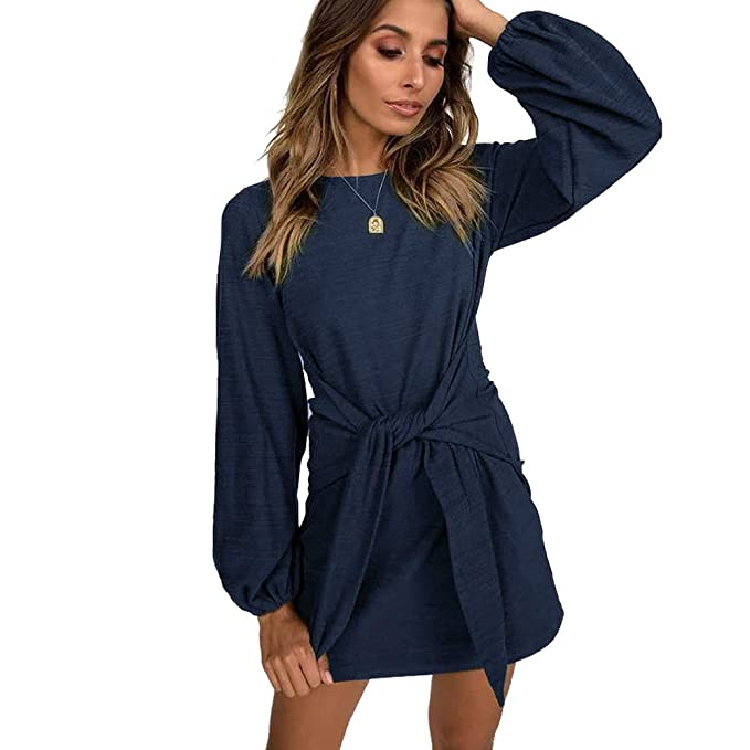dde1855d161 Women Long Jumper Dress Puff Sleeve Stylish Tie Front Pullover Dresses (S