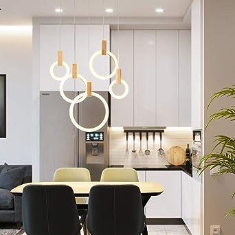 Cortinas de luz de techo colgante Minimalista moderno 5 anillos circulares Escalera de madera Sala de estar Dormitorio Comedor Bar Pasillo Pasillo Pasillo Lámpara de techo Led 60x150cm: Amazon.es: Iluminación