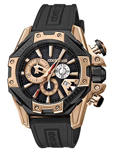 Roberto Cavalli by Franck Muller Viper Swiss Made Men's RV1G057P0056 Black & Rose Gold Mens Rubber Watch
