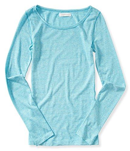Aeropostale Womens Heathered LS Basic T-Shirt Green M - ()