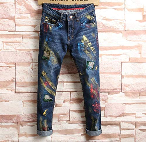 Hole Pants Nostalgico Men Punk Blau Ragazzi Lfarbe Uomo Fashion Classiche Men's Leisure Jeans Straight Distressed Design Ha71npxgp