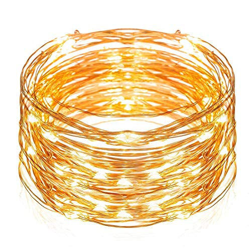 Led String Lights TechRise 33 Feet Colorful 100 LEDS Star Starry Copper Wire Fairy String Lights For Holiday Party Wedding Christams Decoration -Warm White