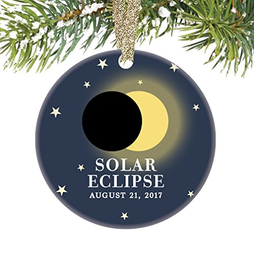 Solar Eclipse Ornament August 21 2017 North America Total Partial Sun Moon Totality Christmas Tree Gift Idea 3  Flat Circle Porcelain Ceramic Ornament Keepsake Present Gold Ribbon   Gift Box Or00322
