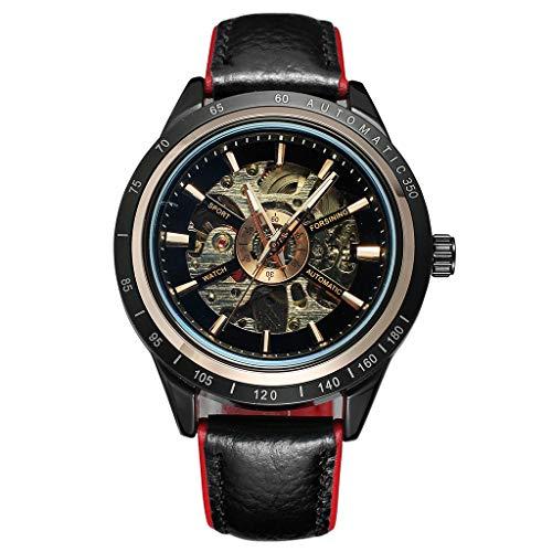 - YEZIJIN Motorcycle Design Transparent Red Black Belt Waterproof Men's Automatic Watch Under 20