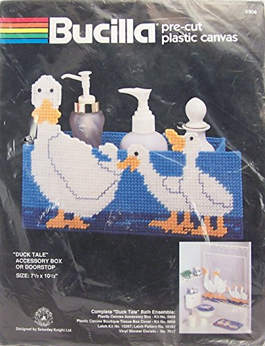 Duck Needlepoint - Bucilla Pre-Cut Plastic Canvas Needlepoint Kit - Duck Tale Accessory Box or Door Stop #5908