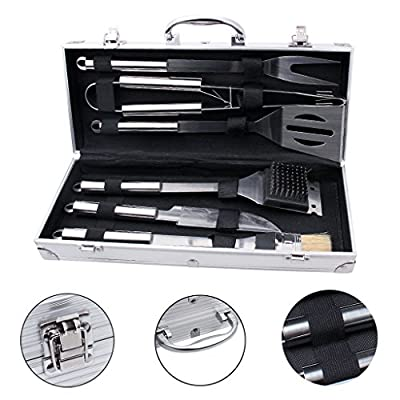 edealing BBQ Tools Set, 6-Piece Barbecue Grill Tools Kit, Heavy Duty Grilling Utensils, Premium Grilling Accessories for Outdoor/Indoor - Spatula, Tong, Knife, Fork, Grill brush, and Basting brush