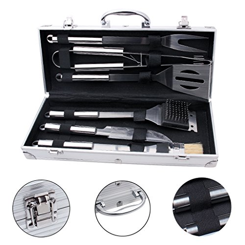 edealing BBQ Tools Set, 6-Piece Barbecue Grill Tools Kit, He