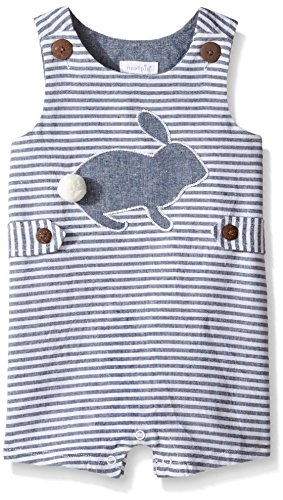 Mud Pie Baby Shortall One Piece, Easter Bunny, 0- 3 (Boys Easter Clothing)