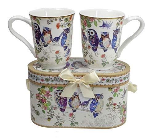 Lightahead Royal Bone China Unique Set Of Two Coffee/Tea Mugs in an Family of Owls Design