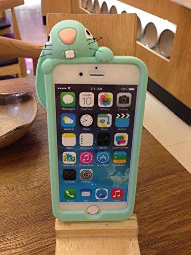 Sunroyal® Funda Carcasa Case Cover TPU Accesorios iPhone 6 Plus iPhone 6S Plus (5.5 Pulgadas)Caso de la Manera 3D Linda de Silicona Divertido Dulce Buck Dientes del Conejo de Conejito Suave teléfono m Color10