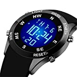 LYMFHCH Men's and Womens Digital Sports Watch LED Screen Large Face Military Watches and Waterproof Casual Luminous Stopwatch Alarm Simple Army Watch (black)