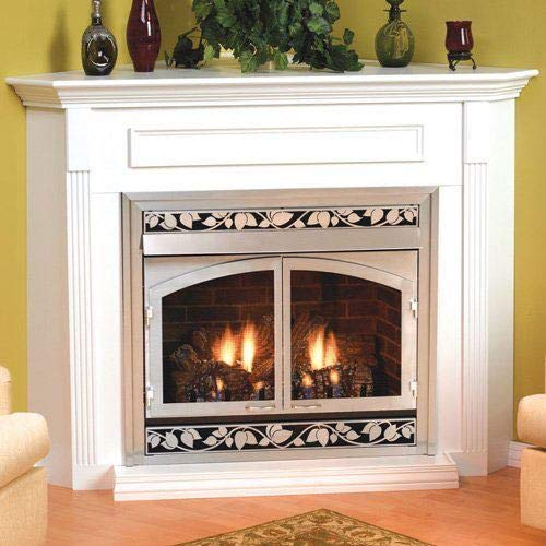 Empire EMC22W Standard Corner Cabinet Mantel with Base - White