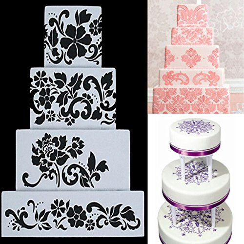 Bazaar 4pcs DIY Cake Cookie Flower Fondant Side Reusable Baking Stencil Wedding Decor (Flowers Cookie Delivery)