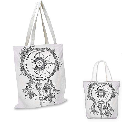 Mystic easy shopping bag Tribal Ethnic Dreamcatcher Feathers with Sun and Moon Inside Cosmos Artsy Image emporium shopping bag Black White. 16