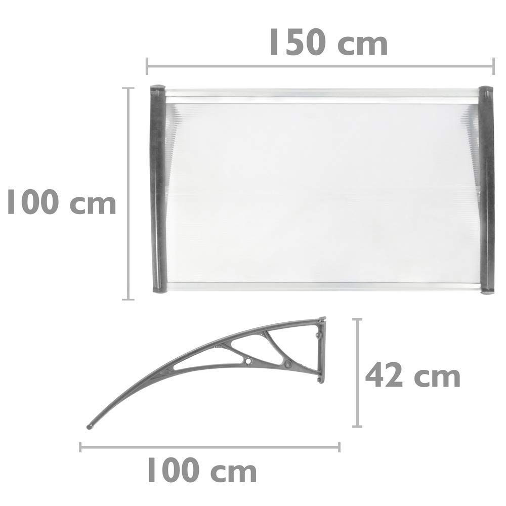 Pultvordach Vordach T/ürdach /Überdachung grau 150x100cm PrimeMatik