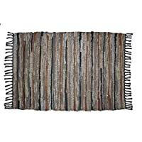 Cotton Craft Leather Chindi Rug 2x3 Feet - Grey Multi - Hand woven & Hand Stitched - Strips of Genuine Leather are woven by hand to get this attractive artisan look - Fully Reversible