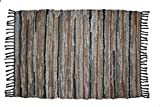 Cotton Craft Leather Chindi Rug 2×3 Feet – Grey Multi – Hand Woven & Hand Stitched – Strips of Genuine Leather are Woven by Hand to get This Attractive Artisan Look – Fully Reversible For Sale