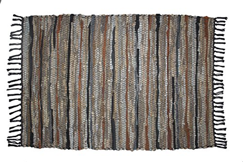 Cotton Craft - 100% Leather Chindi Rug 2x3 Feet - Grey Ivory Multi - Hand Woven & Hand Stitched - Strips of Genuine Leather are Woven by Hand to get This Attractive Artisan Look - Fully Reversible